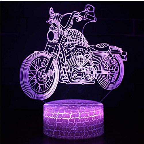 Pbbzl 3D Motocross Bike Night Remote Touch Control Illusion Table Lamps 7 Colors Usb Change Desk Lamp Lamp Night Light Kids'S Gift