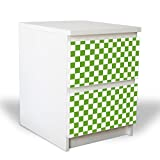 banjado YOURDEA Möbelfolie für IKEA Malm Kommode mit 2 Schubladen/Dekorfolie 2-teilig ca. 40x55cm / Möbelaufkleber Selbstklebend mit Motiv Karo Grün