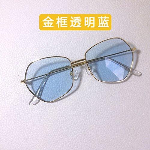 Sunyan Fünfeckiger Brillen, antike Metall tide weibliche Persönlichkeit Sonnenbrille neue marine Film thin net Rot männlich, Gold frame transparent blau