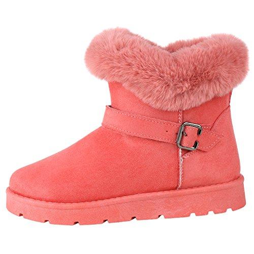 napoli-fashion Warm Gefütterte Damen Stiefel Schlupfstiefel Boots Kunstfell Pink 40 Jennika