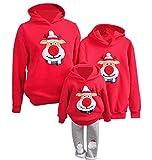 YaoDgFa Ugly Weihnachts Pullover Sweatshirt Weihnachten Xmas Sweater Kapuzenpullover Familie Bekleidung Damen Herren Kinder Weihnachtsmann Schneemann mit Rentier, #04 Rot, Höhe:110-120cm