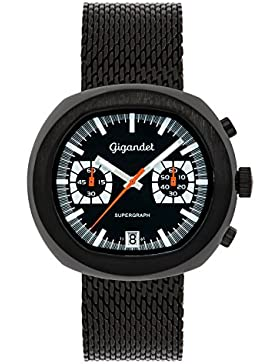Gigandet Supergraph Herren Quarz Armbanduhr Chronograph Analog Datum Schwarz G11-005
