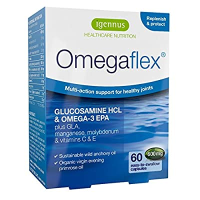 Omegaflex bioavailable Glucosamine, Omega-3 Wild Fish Oil and Organic Evening Primrose oil with Manganese, Vitamin C & Vitamin E, intensive support for joint health, pure Omega-3 & 6, 70% concentration high EPA fish oil combination formula, 60 capsules