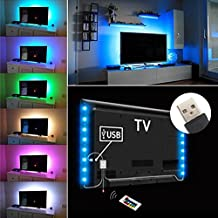 iRegro Tiras LED Iluminación 2 PC 50cm para HDTV USB Powered TV retroiluminación, 7.2W 5V Home Theater Accent Kit con mando a distancia, Multi Color luz tira de Led RGB de iluminación