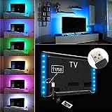 iRegro strisce LED illuminazione per HDTV USB Powered TV retroilluminazione, Home Theater Accent Kit con telecomando, 2 Multi Color Luce striscia di LED RGB di illuminazione 2 bande immagine