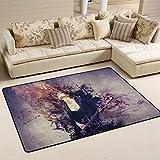 COOSUN Beautiful Musiker spielt Gitarre Bereich Teppich Teppich rutschfeste Fußmatte Fußmatten für Wohnzimmer Schlafzimmer 182.9 x 121.9 cm, Textil, multi, 72 x 48 inch