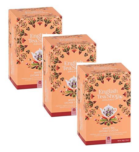 English Tea Shop Weißer Tee mit Litschi und Kakao Sammlung handverlesener Tees aus Sri Lanka - 3 x 20 Beutel (120 Gramm)