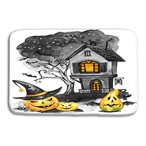 Yugfhj Doormat Indoor Outdoor Watercolor Landscape Old House Cemetery Holidays Pumpkins Halloween Holiday Illustration Magic Symbol Horror Scary Night mat