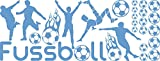 Graz Design Wandtattoo Aufkleber Tattoo Set für Kinderzimmer Fußball Bälle Sport Jungs (150x57cm // 056 lichtblau)