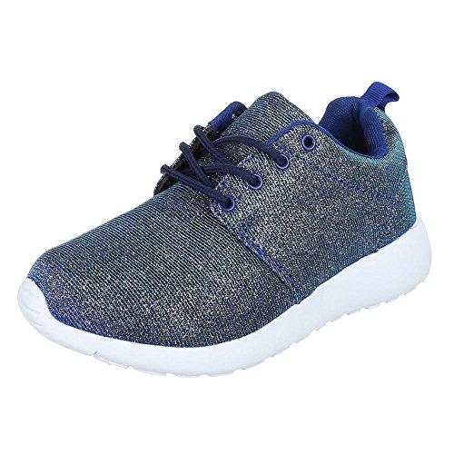 Damen Schuhe Trendige Sportschuhe Freizeitschuhe Blau Gold