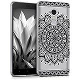 kwmobile Funda para Xiaomi Redmi Note 4 - Case para móvil en TPU silicona - Cover trasero Diseño Girasol Azteca en negro transparente