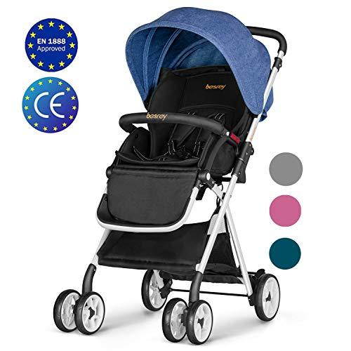 Besrey leicht Kinderwagen Buggy mit Liegeposition klein klappbar mit Regenschutz - dunkelblau