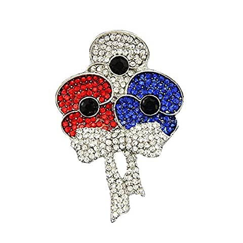 Uniqueen Vintage Ladies Flower Bouquet Faux Swarovski element Crystal Rhinestone Poppy Brooch Pin Breastpin (Red & Blue &
