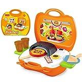 Niños Juego de imaginación Pizza Playset Leagway Simulación Pizza Grill Tools Cocina Gourmet Food Rolle Set de Paly en Maleta de Viaje portátil Cooking Toy Kit para niños Boys Girls Toddler