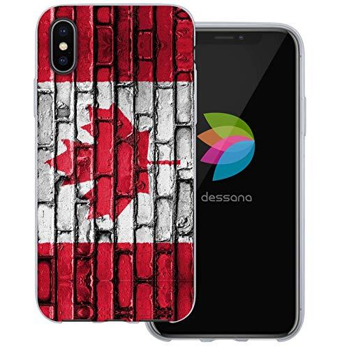 dessana Kanada Transparente Schutzhülle Handy Case Cover Tasche für Apple iPhone X Wand Flagge Kanada -
