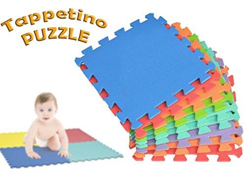 Mediawave Store 2814 Tappeto da Gioco Puzzle componibile colorato 10 Pezzi 30x30cm....
