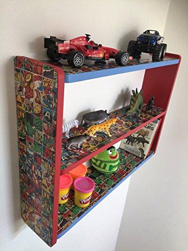 74cm W x 50cm H BOYS BEDROOM MARVEL COMIC HERO SHELVES  KIDS SHELVES   SHELF  KIDS BOOKCASE  TOY STORAGE. childrens marvel boys themed bedroom   Furniture   Decor   Lighting