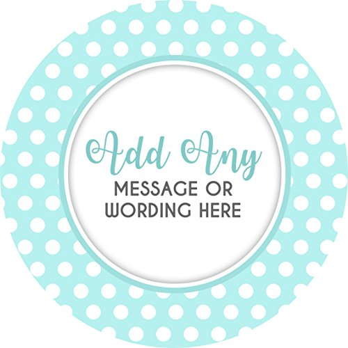 Polka dots light blue sticker labels 24 stickers 4 5cm each personalised seals ideal for party bags sweet cones favours jars presentations gift boxes