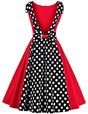 Botomi 50s Rockabilly Polka Dots Dress Retro Cocktail Dress, 15.S Red, Medium