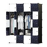 ETTBJA DIY Plastik Schrank Portable Kleiderschrank mit schwarz-weiß-Türen Speicher-Design ihre eigenen (20 Würfel mit 3 hangers)