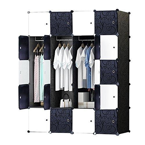 ETTBJA Armario Modular para Almacenaje de Ropa, Zapatos, Juguetes o Libros. Blanco y Negro con motivos Florales (20 Cubos con 4 Barras para Perchas )
