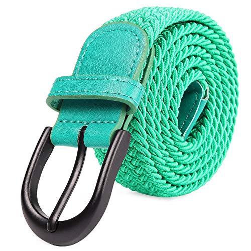 Cinturón Elástico Trenzado con Bordado Extensible, Hebilla Metálica Negra Ovalada y Terminaciones en Cuero para Hombre / Mujer / Niños (Bosque verde, X-Pequeño 61cm-66cm (81cm de longitud))