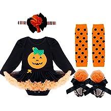 FEESHOW (juego de 4)Vestido Traje Disfraces Bebés Niñas para Día de los muertos Halloween calabaza