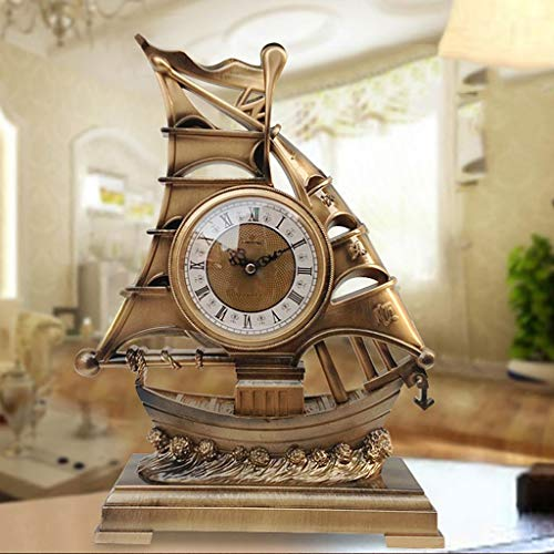 WEI Tischuhr Chinese Bells Smooth Sailing Tischuhr Antique Art Clock Mute kreative Uhr Ornamente,AAA