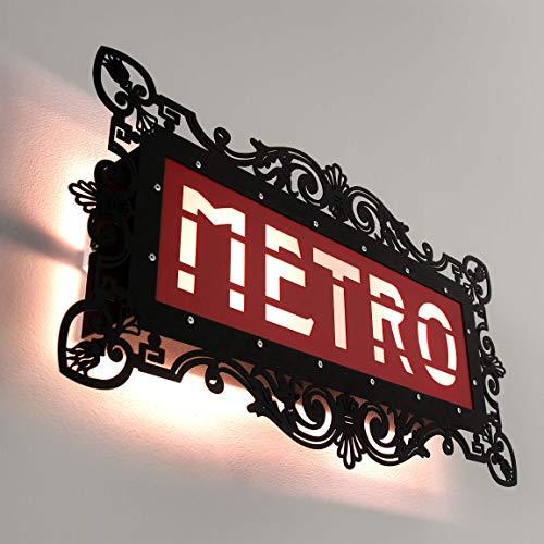 Paris Metro Applique murale avec plaque de style moderne Noir 46 x 25 cm