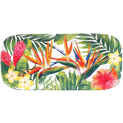 Les Jardins de la Comtesse - Lange rechteckige Kuchenplatte - reines Melamin - 37,5 cm - Exotische Blumen - Rot und Grün - Servierplatte aus der Kollektion MelARTmine - Unzerbrechliches Geschirr