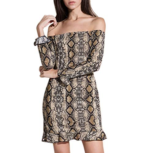 ODJOY-FAN Vestito Donna Stampa Manica Lunga Sexy Capo Serpente Anca Vestito  Abiti Eleganti Lunghi 75d3d089c77