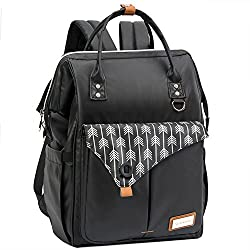Lekebaby Waterproof Nappy Changing Backpack Bag With Changing Mat, Black