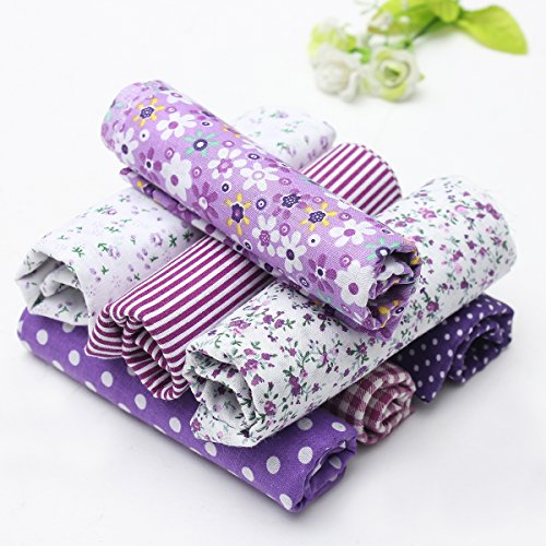 king-do-way-lot-de-7-pcs-50cmx50cm-tissu-en-coton-couture-artisanat-diy-fabric-sewing-floral-violet