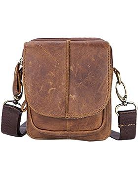 Zhhlinyuan dauerhaft Mens Women Unisex Soft Small Zipper Adjustable First Cowhide Leather Crossbody Shoulder Bag...