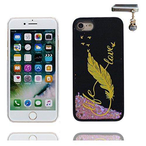 """Coque iPhone 6, [Bling Bling Glitter Fluide Liquide Sparkles Sables] iPhone 6s étui Cover (4.7 pouces), iPhone 6 Case (4.7""""), anti- chocs & Bouchon anti-poussière- Totem de fleurs florales Noir 5"""