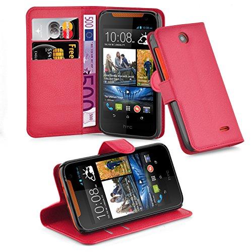 Cadorabo Hülle für HTC Desire 310 Hülle in Karmin Rot Handyhülle mit Kartenfach und Standfunktion Case Cover Schutzhülle Etui Tasche Book Klapp Style Karmin-Rot
