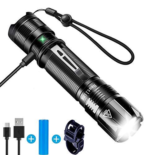 Nestling LED Taschenlampe,CREE XPG2 S3 Taktische Taschenlampe Super Hell 1000 Lumen USB Wiederaufladbare Taschenlampen, IP67 Wasserdicht Taschenlampe mit 5 Modi für Outdoor camping/Wandern/Walking