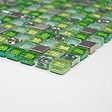 Fliesen Mosaik Glasmosaik Mosaikfliesen Bad grün Mix Edelstahl Glas 8mm Neu #457
