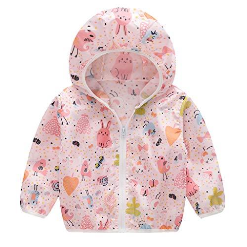 MRULIC Kinder Mädchen Jungen Floral Bedruckter Frühling mit Kapuze Licht Mantel Reißverschluss Jacke Tops Sonnenschutz Kleidung 1-6 Jahre - Kapuzen Jacke Mädchen Baby