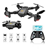 Drone Tascabile,EarthSave XS809W WiFi FPV RC Quadricottero con fotocamera 2MP 120 ° Wide-Angle,One Key Return Home, Flight Path, G-Sensor, Long Flight, Compatibile con VR Headset (Drone FPV Tascabile)