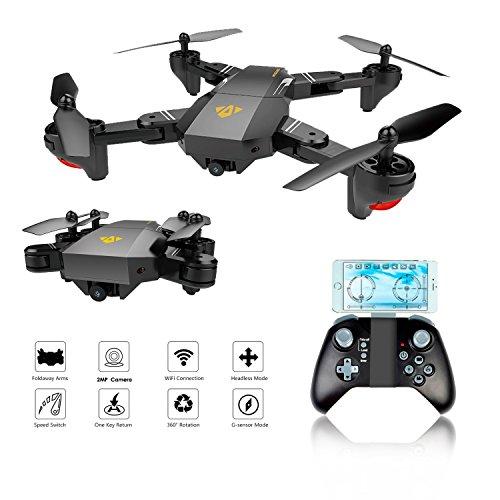 Drone Tascabile,EarthSave XS809W WiFi FPV RC Quadricottero con fotocamera 2MP 120 ° Wide-Angle,One Key Return Home, Flight Path, G-Sensor, Long Flight, Compatibile con VR Headset (Drone FPV Tascabile)