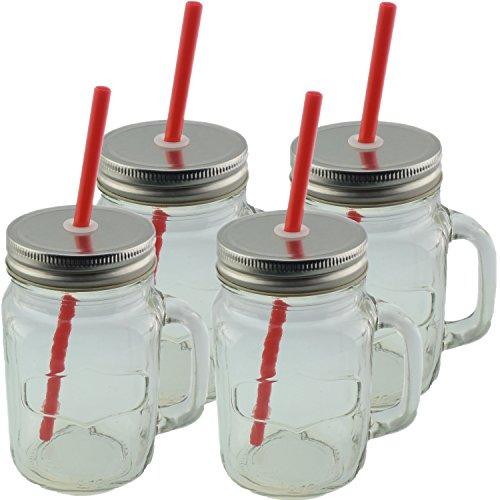 4er Set Vintage Trinkgläser mit Deckel silber / alu und Strohhalm Kunststoff in rot - Schraubverschluss