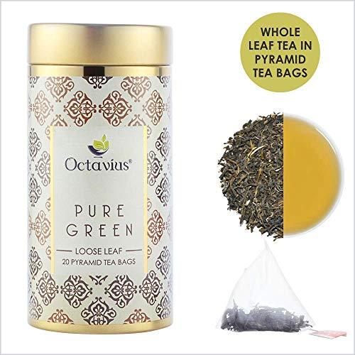 Octavius Pure Green Tea Whole Leaf Pyramid - 20 Pyramid Tea Bags -40 gm (1.41 OZ) (Pure Tea Iced Leaf)
