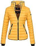 Marikoo Damen Jacke Steppjacke Übergangsjacke gesteppt mit Kordeln Frühjahr Camouflage B405 [B405-Lola-Gelb-Gr.S]