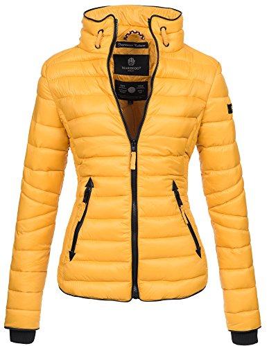 Marikoo Damen Jacke Steppjacke Übergangsjacke gesteppt mit Kordeln Frühjahr Camouflage B405 [B405-Lola-Gelb-Gr.XL] (Aktuelle Angebote)