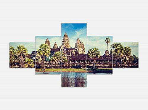 Leinwandbild 5 tlg. 200cmx100cm Angkor Wat Tempel Kambodscha Bilder Druck auf Leinwand Bild Kunstdruck mehrteilig Holz 9YA673, 5Tlg 200x100cm:5Tlg 200x100cm