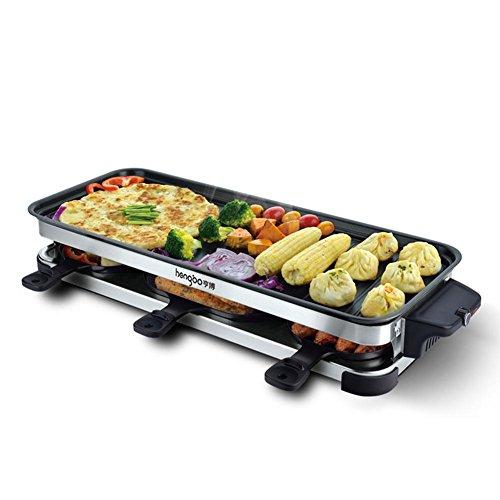 Grill électrique Teppanyaki Table Barbecue Grill antiadhésif surface de cuisson avec température réglable amovible pour 6 personnes 2200W [6 * Spatules]