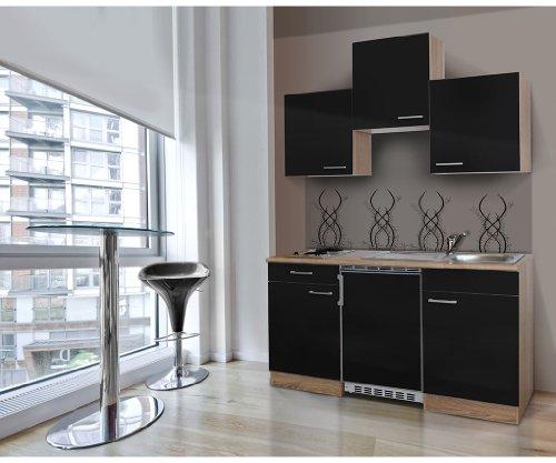 respekta KB150ESS Single Mini Küche Küchenzeile Küchenblock 150 cm EICHE SÄGERAU SCHWARZ