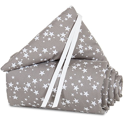 Babybay Tour de lit Pique pour original, bleu azur étoiles Blanc