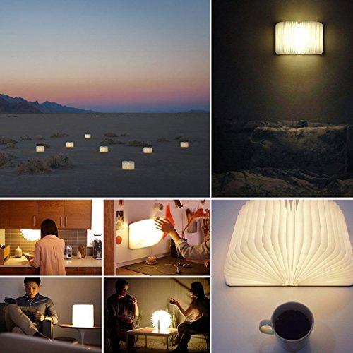 Große LED Buch lampe in Buch Form Holzbuch mit 2500 mAh Akku Lithium Nachttischlampe Nachtlicht dekorative Lampen Ölbildscheibe Papier + Holz Einband warmweiß Licht, Maße 22x3x17.5 cm - 5